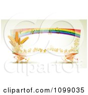 Clipart Origami Banner With Shamrocks Wheat Butterflies And A Dewy Rainbow Royalty Free Vector Illustration