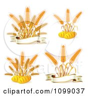 Clipart French Bread And Whole Grain Wheat And Banner Logos Royalty Free Vector Illustration
