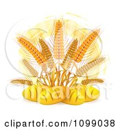 Clipart French Bread Loaves Under Whole Wheat Grains And An Orange Circle Royalty Free Vector Illustration by merlinul #COLLC1099038-0175
