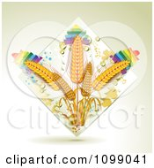 Clipart Whole Grain Wheat In A Diamond Of Dew And Rainbows Royalty Free Vector Illustration