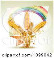 Clipart Rainbow Origami Banner And Whole Grain Wheat Royalty Free Vector Illustration