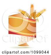Clipart Orange Origami Banner With Whole Wheat Grains Royalty Free Vector Illustration