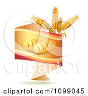 Clipart Orange Origami Banner With French Bread And Whole Wheat Grains Royalty Free Vector Illustration
