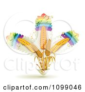 Clipart Rainbow Leaves And Whole Grain Wheat Royalty Free Vector Illustration