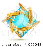 Clipart Whole Grain Wheat In A Blue Diamond With Splatters Royalty Free Vector Illustration
