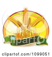 Clipart Green Banner Butterflies And Whole Grain Wheat Over An Oval Royalty Free Vector Illustration by merlinul #COLLC1099051-0175