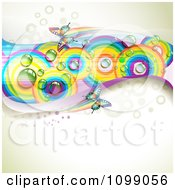Clipart Background Of Butterflies With Mesh Waves And Rainbow Circles Royalty Free Vector Illustration by merlinul