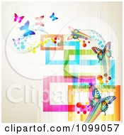 Clipart Background Of Butterflies With Streaks And Colorful Rectangles Royalty Free Vector Illustration