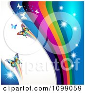Clipart Background Of Butterflies With Rainbow Waves And Sparkles Royalty Free Vector Illustration