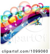 Clipart Background Of Butterflies Flying With Rainbow Waves And Circles Royalty Free Vector Illustration