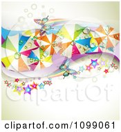 Clipart Wave Of Colorful Wet Umbrellas Butterflies And Stars Over Dots And Mesh Royalty Free Vector Illustration by merlinul