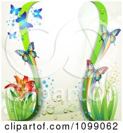 Clipart Background Of Butterflies Green Waves And A Lily Royalty Free Vector Illustration