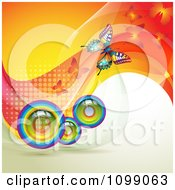 Clipart Background Of Butterflies With Mesh Waves And Rainbow Orbs Royalty Free Vector Illustration by merlinul