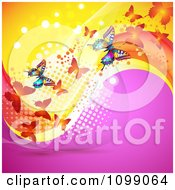 Clipart Background Of Butterflies With Mesh Waves And Dots Royalty Free Vector Illustration