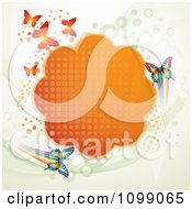 Clipart Background Of Butterflies With An Orange Cloud Frame And Dots Royalty Free Vector Illustration