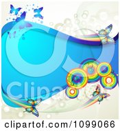 Clipart Background Of Butterflies With Rainbow Circles Dots And A Blue Wave Royalty Free Vector Illustration