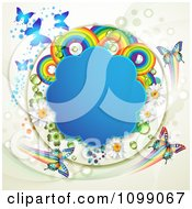 Clipart Background Of Butterflies With A Blue Cloud Frame Flowers Rainbows Dots And Shamrocks Royalty Free Vector Illustration by merlinul