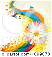 Clipart Background Of Butterflies With Rainbow Waves Circles And A Daisy Royalty Free Vector Illustration