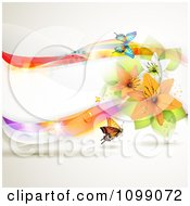 Clipart Background Of A Colorful Wave With Lilies And Butterflies Royalty Free Vector Illustration