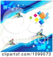Colorful Butterflies On A White Line With Blue Corners And Colorful Squares