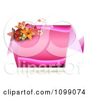 Pink Origami Banner With Butterflies And Lilies
