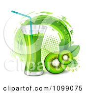Kiwi Beverage With Slices And A Halftone Circle