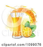 Clipart Tall Glass Of Orange Juice With A Slice Leaves And Circle Royalty Free Vector Illustration