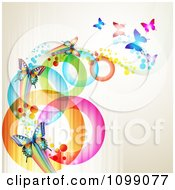 Clipart Background Of Butterflies With Streaks And Colorful Circles Royalty Free Vector Illustration