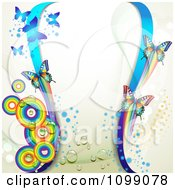 Clipart Background Of Butterflies Blue Waves And Rainbow Circles Royalty Free Vector Illustration