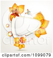 Clipart Background Of A Butterfly With Orange Lilies And Leaves Around A Triangular Frame Royalty Free Vector Illustration