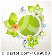 Clipart Background Of A Butterfly With Lilies And Leaves Around A Frame Royalty Free Vector Illustration by merlinul