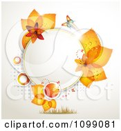 Clipart Background Of A Butterfly With Orange Lilies And Leaves Around A Frame Royalty Free Vector Illustration