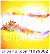 Background Of Lily Flowers And Colorful Waves With Copyspace On Yellow