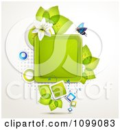 Clipart Background Of A Butterfly With A White Lily And Leaves Around A Square Frame Royalty Free Vector Illustration