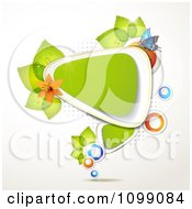 Clipart Background Of A Butterfly With Flowers And Leaves Around A Green Triangular Frame Royalty Free Vector Illustration