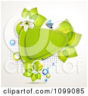 Clipart Background Of A Butterfly With Lilies And Leaves Around A Green Triangular Frame Royalty Free Vector Illustration by merlinul