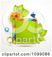 Clipart Background Of A Butterfly With An Orange Lily And Leaves Around A Square Frame Royalty Free Vector Illustration by merlinul