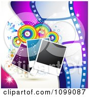 Clipart Background Of Instant Photos Rainbow Circles Butterflies And Film Frames Royalty Free Vector Illustration by merlinul