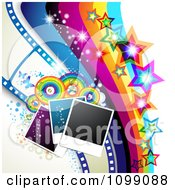 Clipart Background Of Instant Photos Rainbow Circles Butterflies Film Frames Rainbow And Stars Royalty Free Vector Illustration