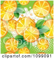 Clipart Seamless Background Of Orange Slices And Leaves With Halftones And Dew Royalty Free Vector Illustration by merlinul