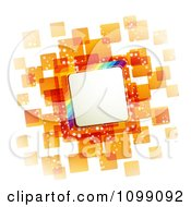 Clipart Background Of A Slanted Rainbow Square Frame Over Orange Tiles Royalty Free Vector Illustration