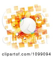 Clipart Background Of A Slanted Rainbow Circle Frame Over Orange Tiles Royalty Free Vector Illustration by merlinul