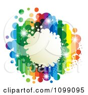 Clipart Background Of A Splatter Frame With Rainbow Stripes And Dots Royalty Free Vector Illustration by merlinul