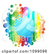 Clipart Background Of A Splatter Frame With A Blue Center Rainbow Stripes And Dots Royalty Free Vector Illustration by merlinul