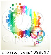 Clipart Background Of A Splatter Frame With Rainbow Stripes Rings And Dots Royalty Free Vector Illustration by merlinul
