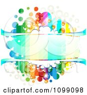 Clipart Background Of A Dewy Splatter Frame With Rainbow Stripes And Dots Royalty Free Vector Illustration