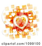 Clipart Valentines Background Of Hearts Over Orange Squares On White Royalty Free Vector Illustration