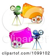 Clipart Movie Cameras With Reels Over Pink And Orange Banners Royalty Free Vector Illustration by merlinul