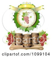 Clipart Blank Banner With Red Grapes And Wine Barrels Royalty Free Vector Illustration