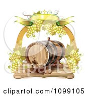 Arch Of White Grapes And A Banner Over A Wine Barrel